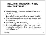 health in the news public health experts