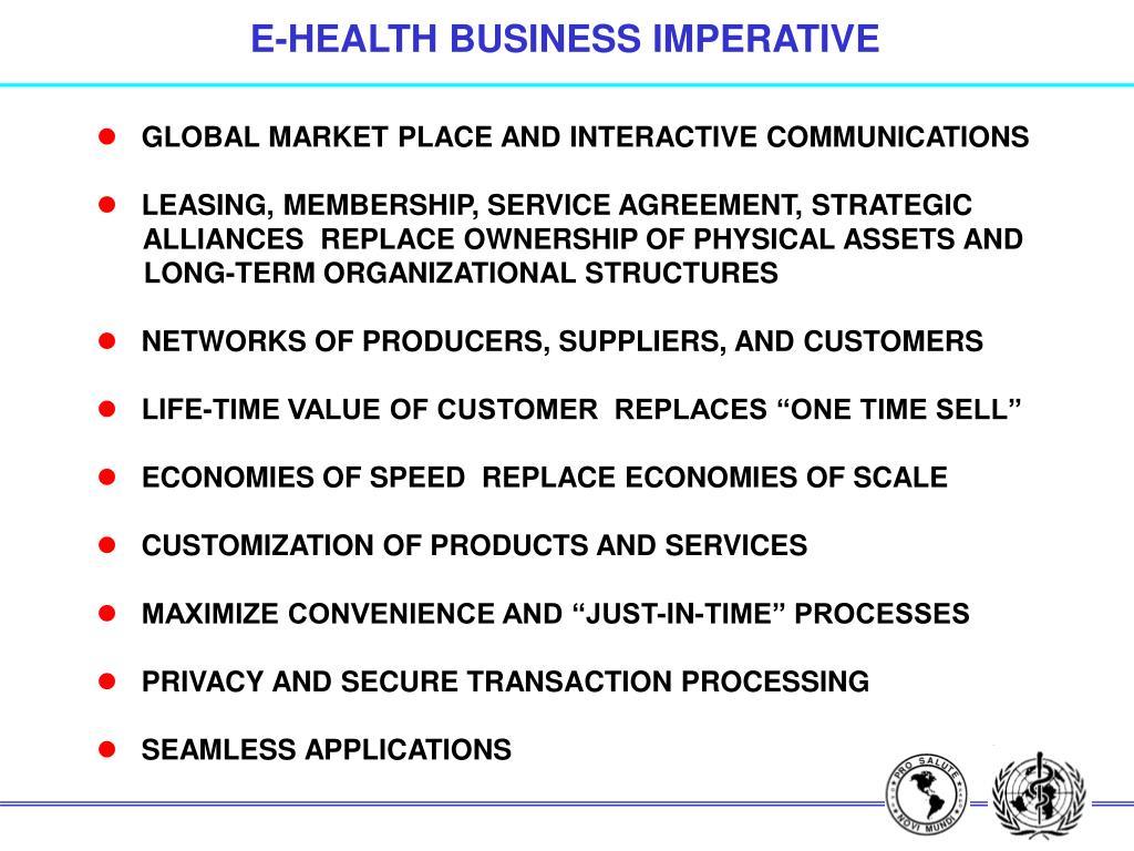 E-HEALTH BUSINESS IMPERATIVE