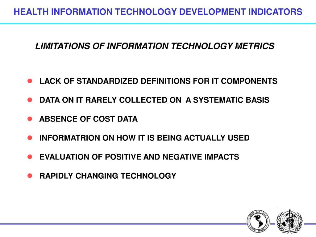 HEALTH INFORMATION TECHNOLOGY DEVELOPMENT INDICATORS