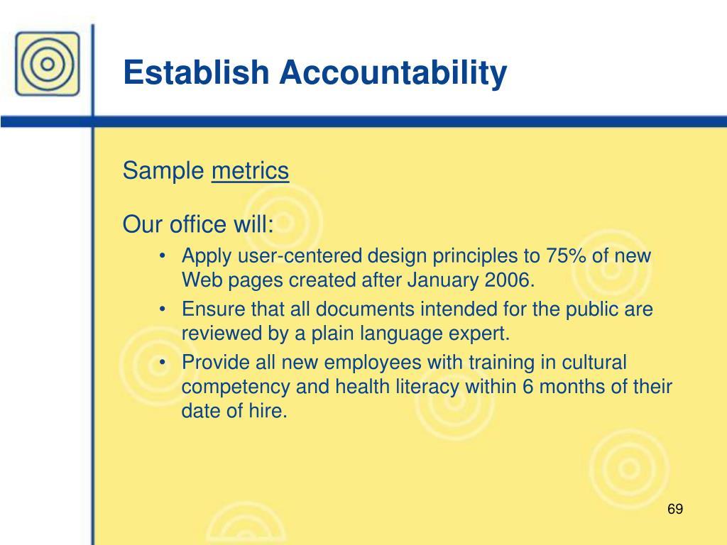 Establish Accountability