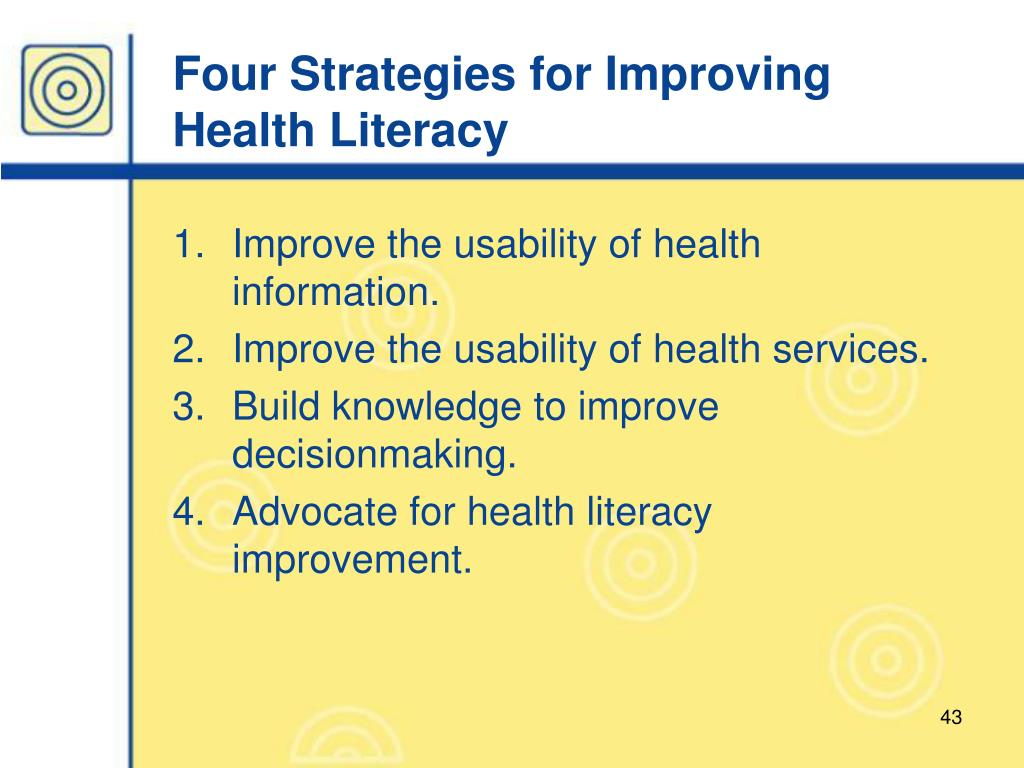 Four Strategies for Improving Health Literacy