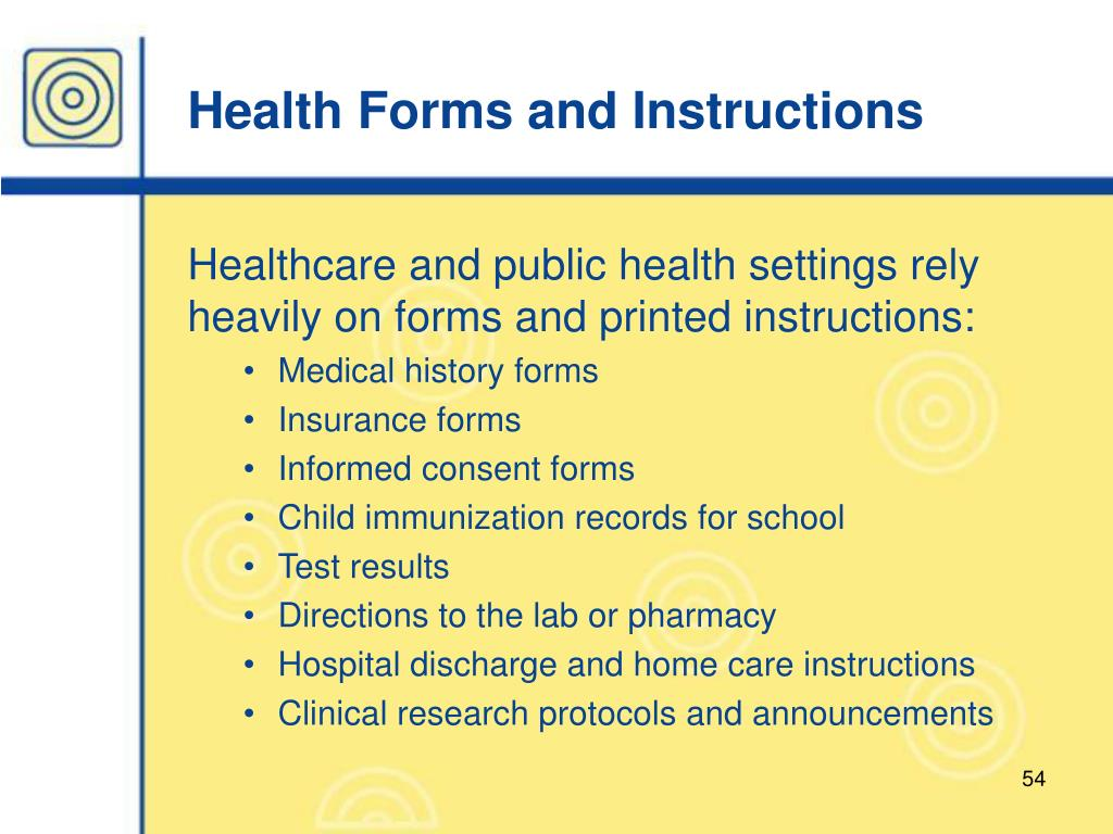 Health Forms and Instructions