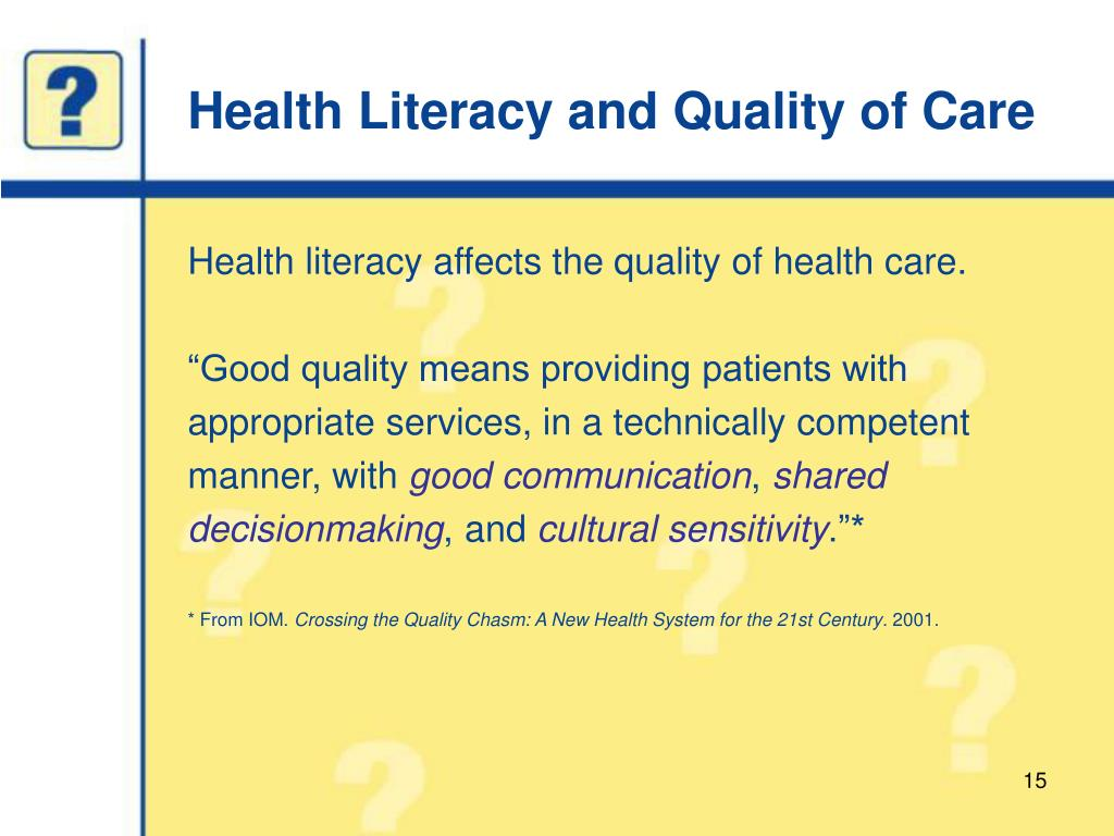 Health Literacy and Quality of Care