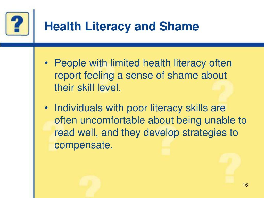 Health Literacy and Shame