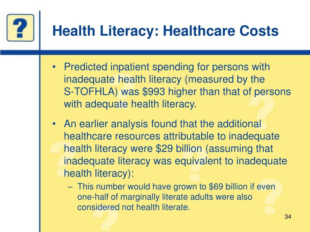 Health Literacy: Healthcare Costs