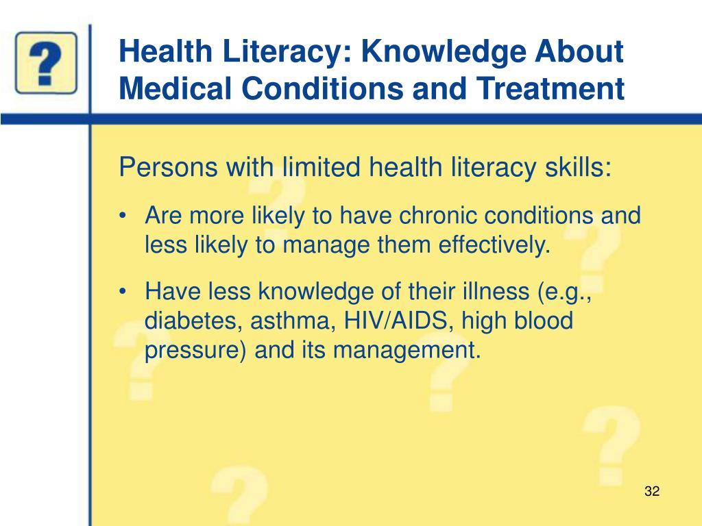 Health Literacy: Knowledge About Medical Conditions and Treatment