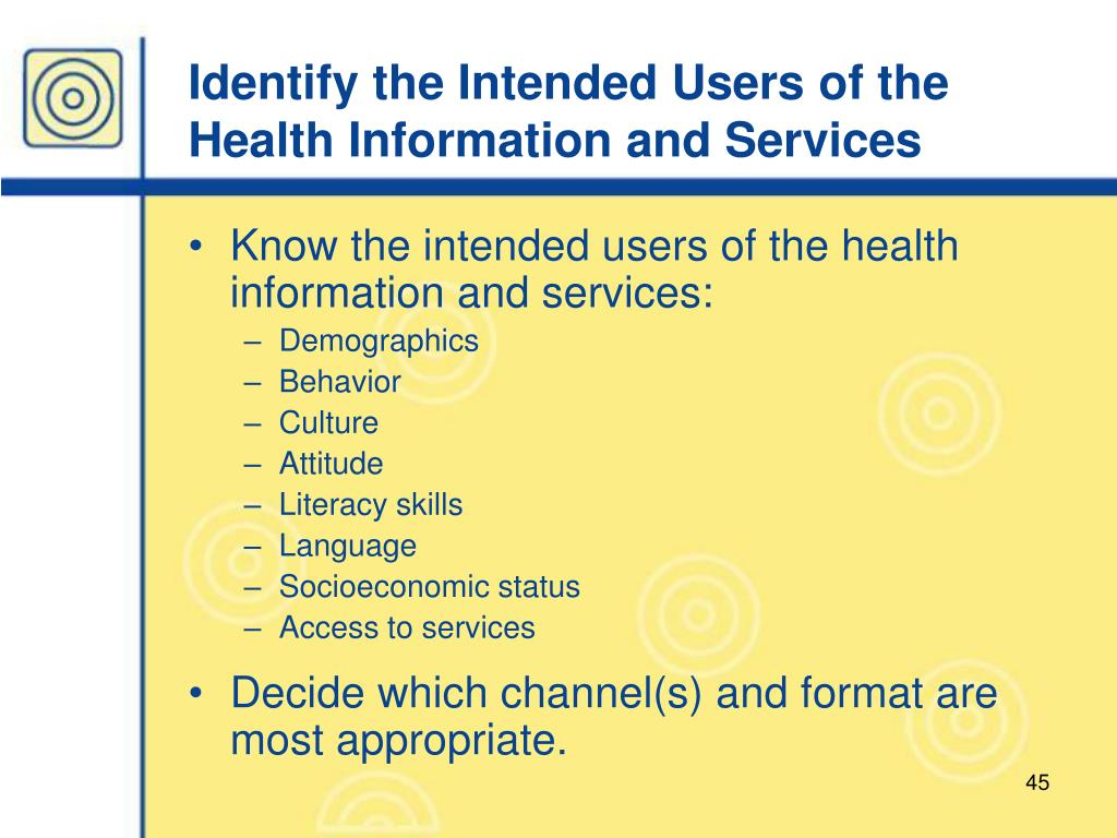 Identify the Intended Users of the Health Information and Services