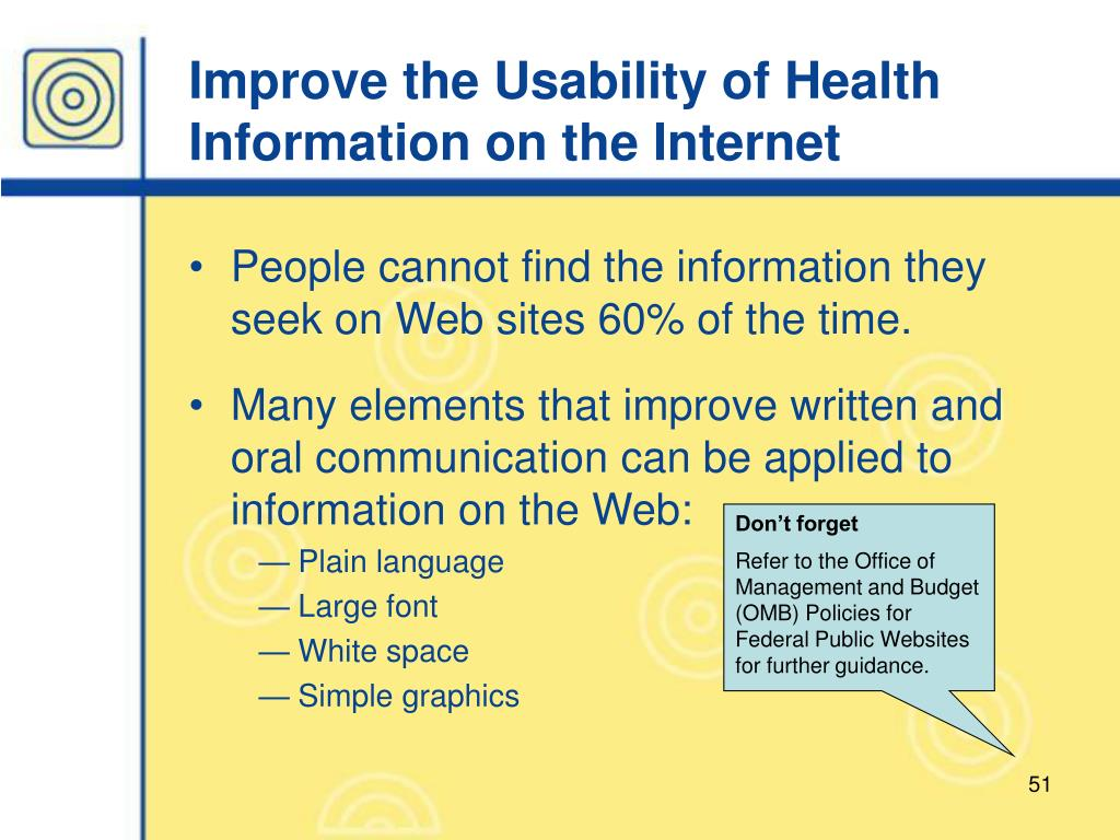 Improve the Usability of Health Information on the Internet