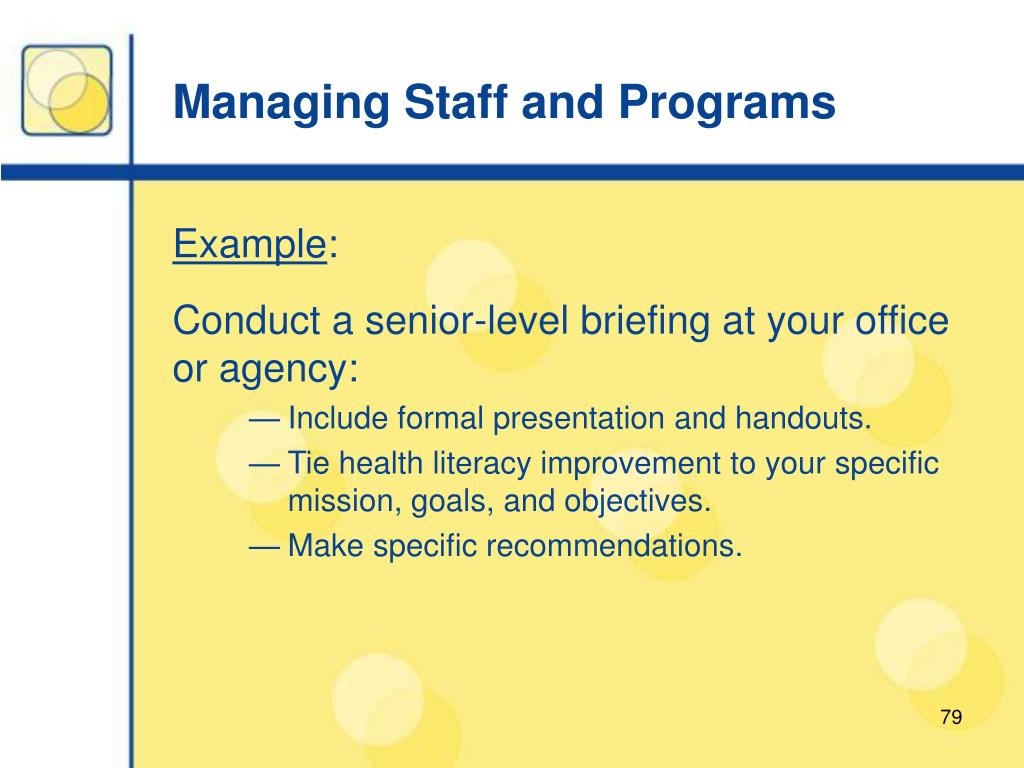 Managing Staff and Programs