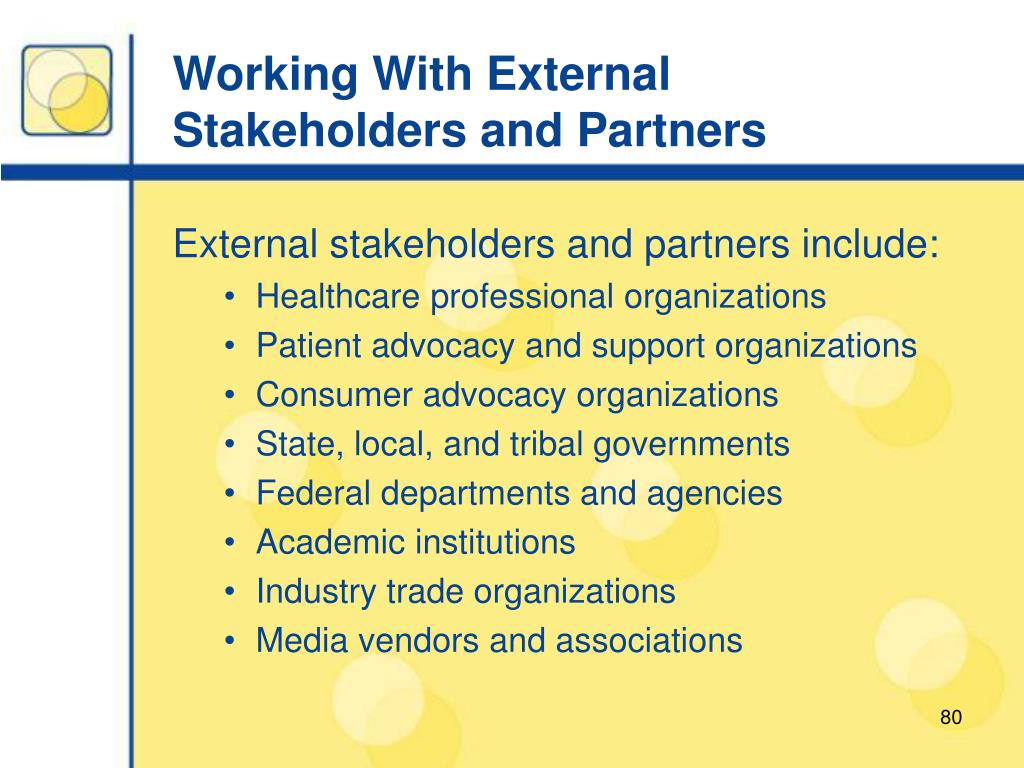 Working With External Stakeholders and Partners