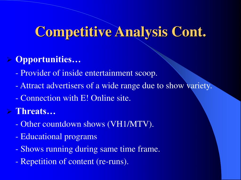 Competitive Analysis Cont.