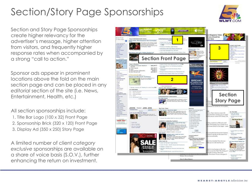 Section/Story Page Sponsorships
