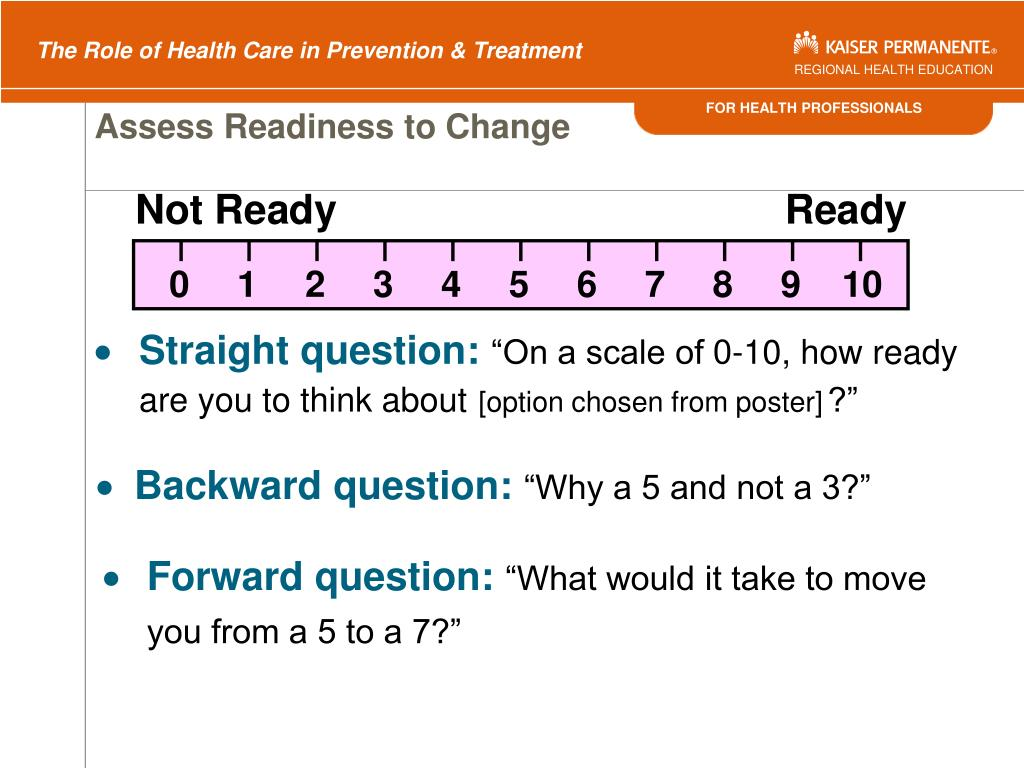 Assess Readiness to Change