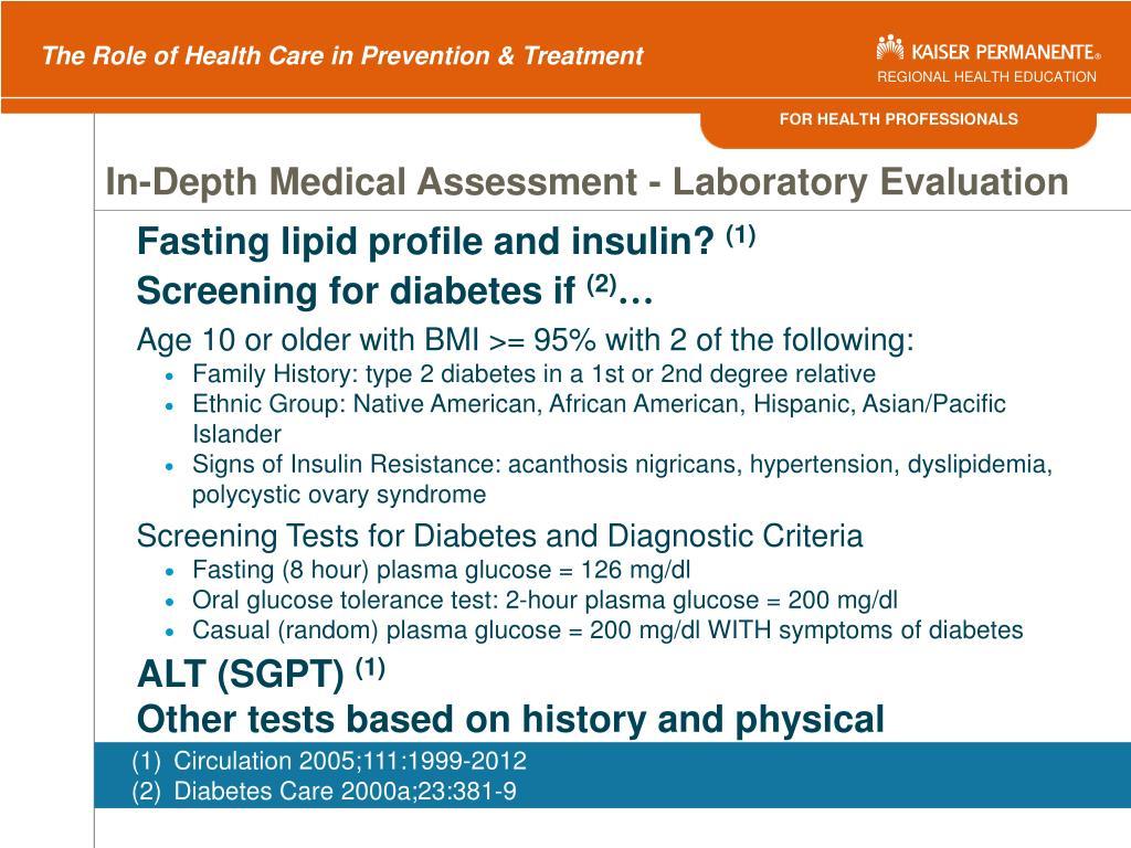 In-Depth Medical Assessment - Laboratory Evaluation