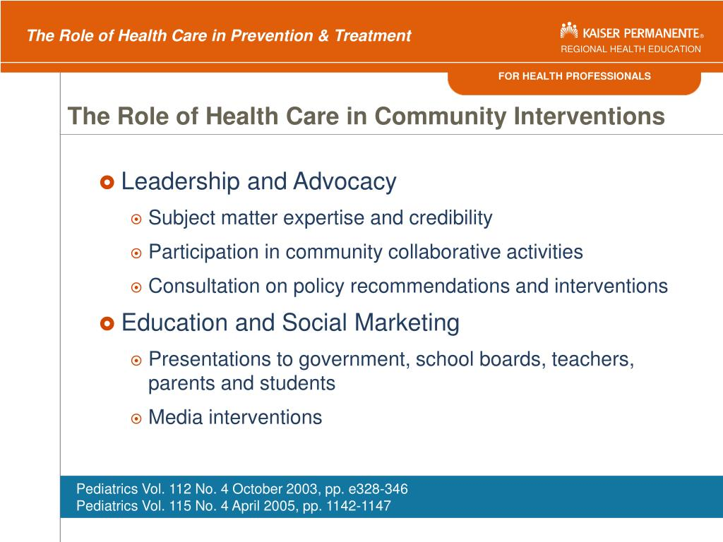 The Role of Health Care in Community Interventions