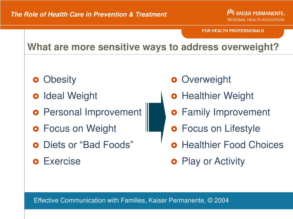 What are more sensitive ways to address overweight?
