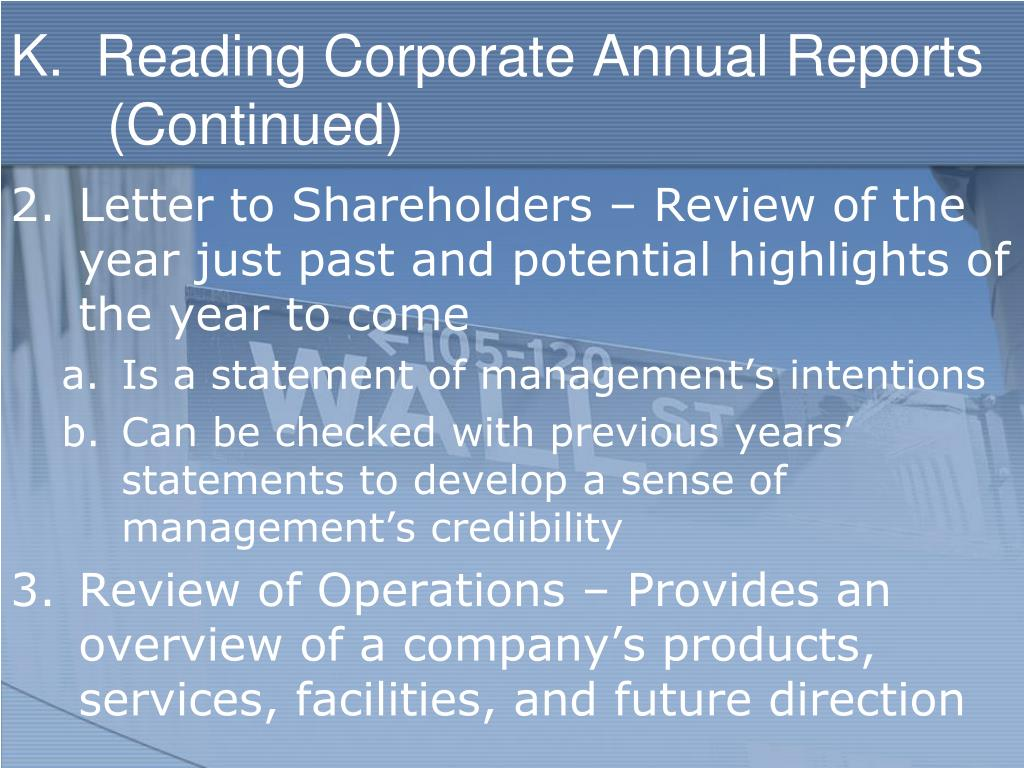 K.  Reading Corporate Annual Reports (Continued)