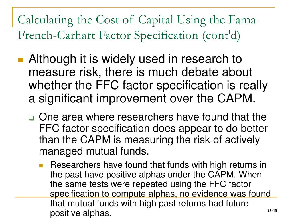 Calculating the Cost of Capital Using the Fama-French-Carhart Factor Specification (cont'd)