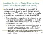 calculating the cost of capital using the fama french carhart factor specification cont d