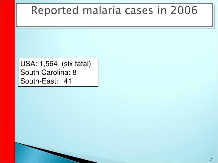 Reported malaria cases in 2006