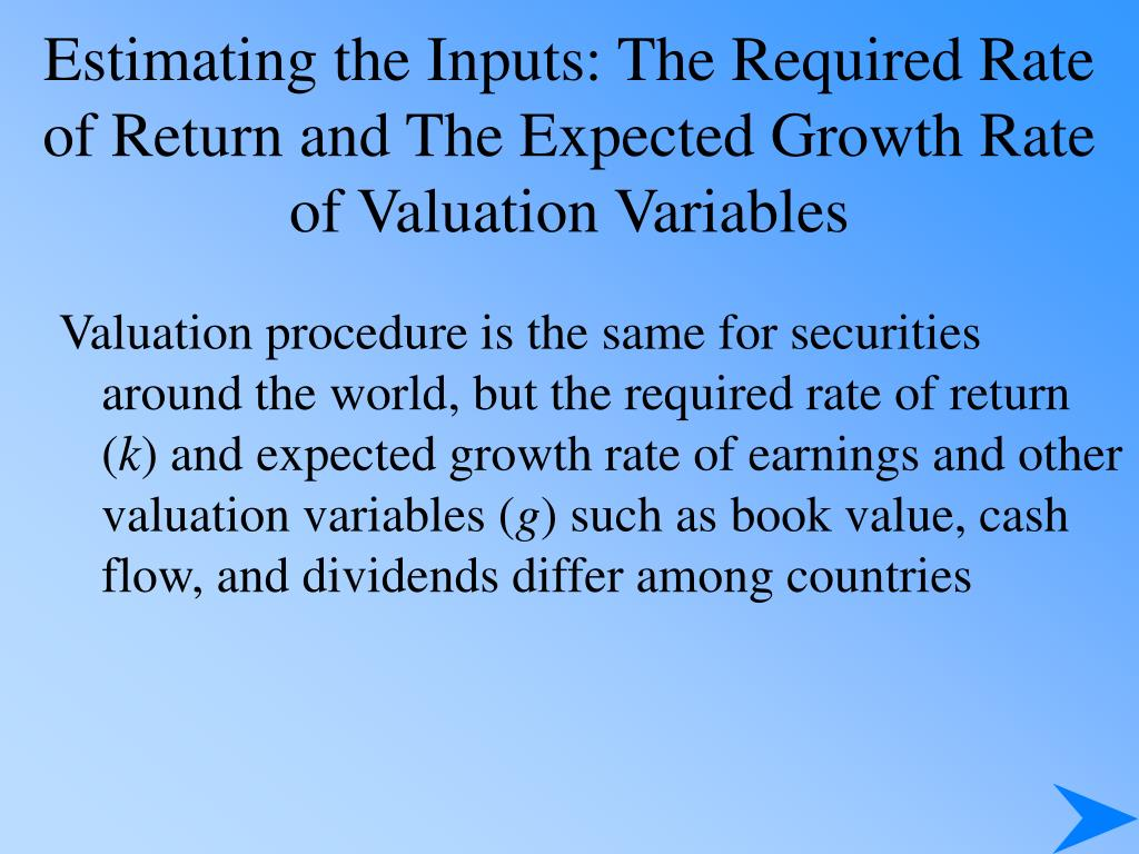 Estimating the Inputs: The Required Rate of Return and The Expected Growth Rate of Valuation Variables