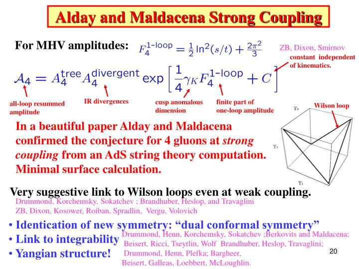 Alday and Maldacena Strong Coupling