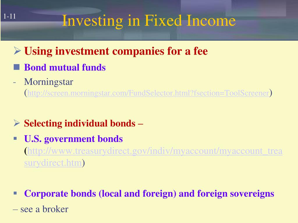 Investing in Fixed Income