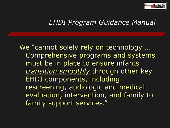 EHDI Program Guidance Manual