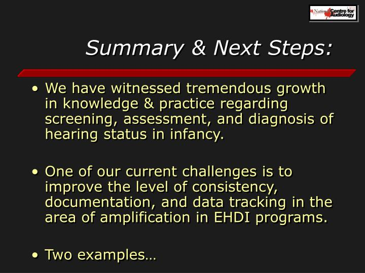 Summary & Next Steps: