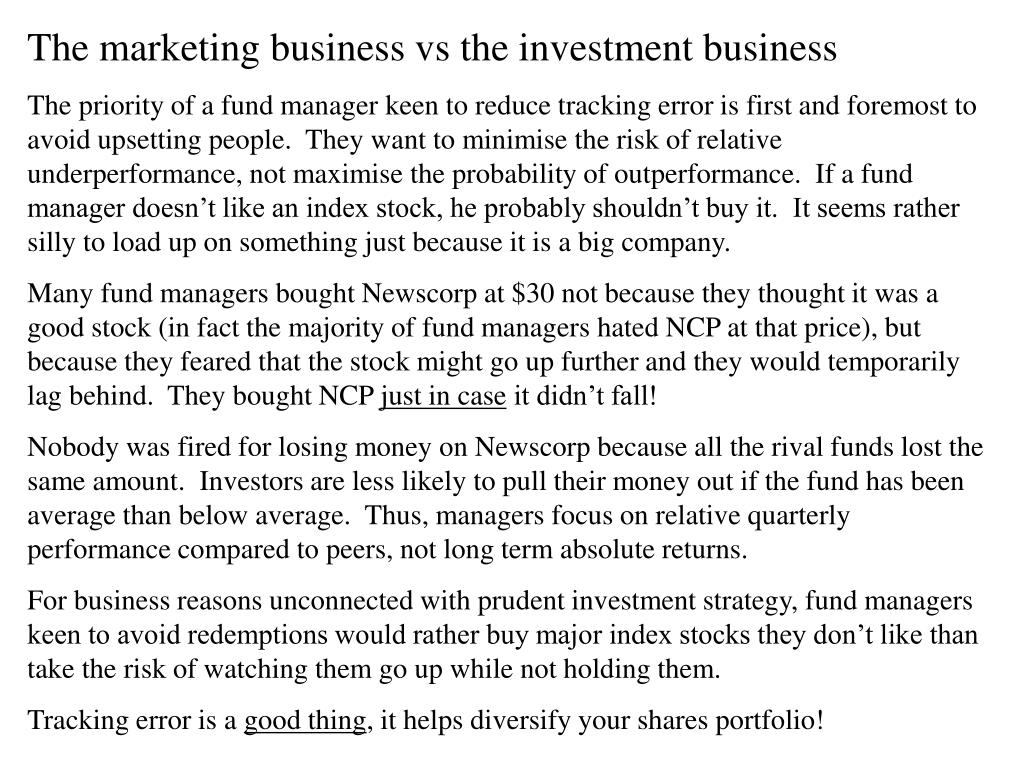The marketing business vs the investment business