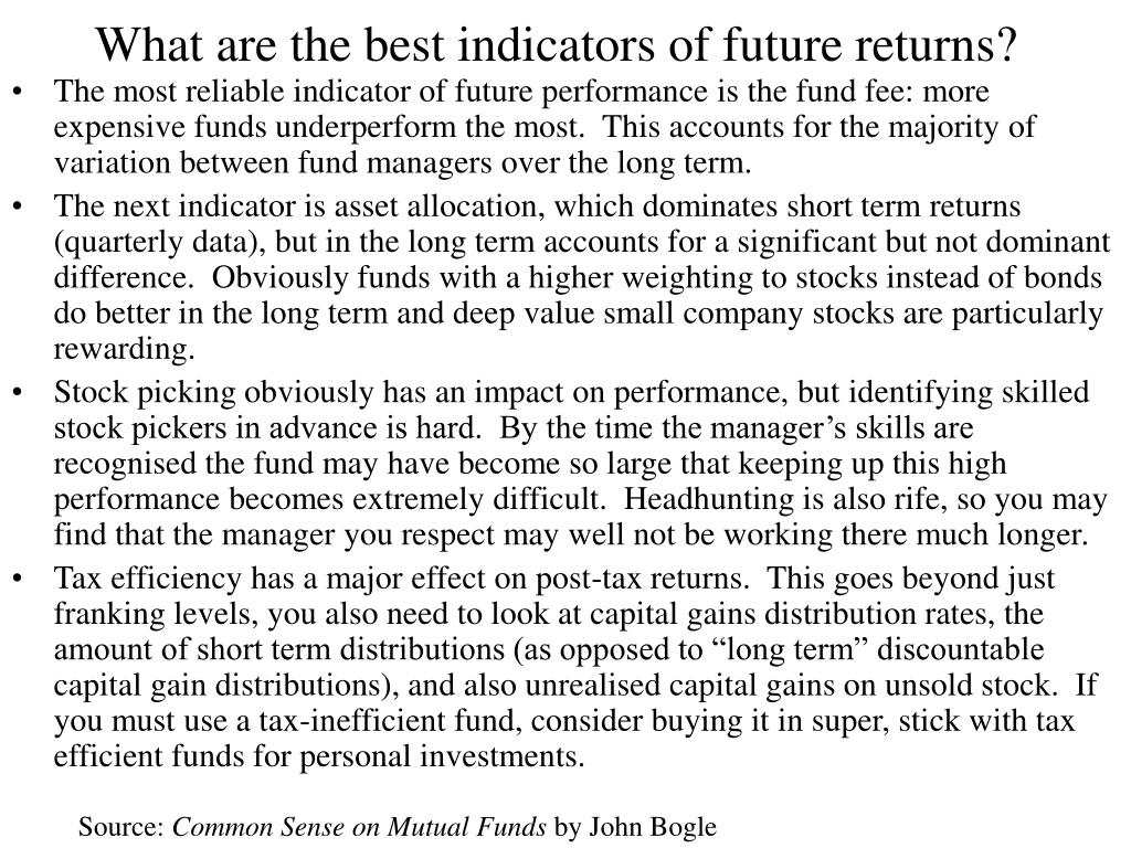 What are the best indicators of future returns?