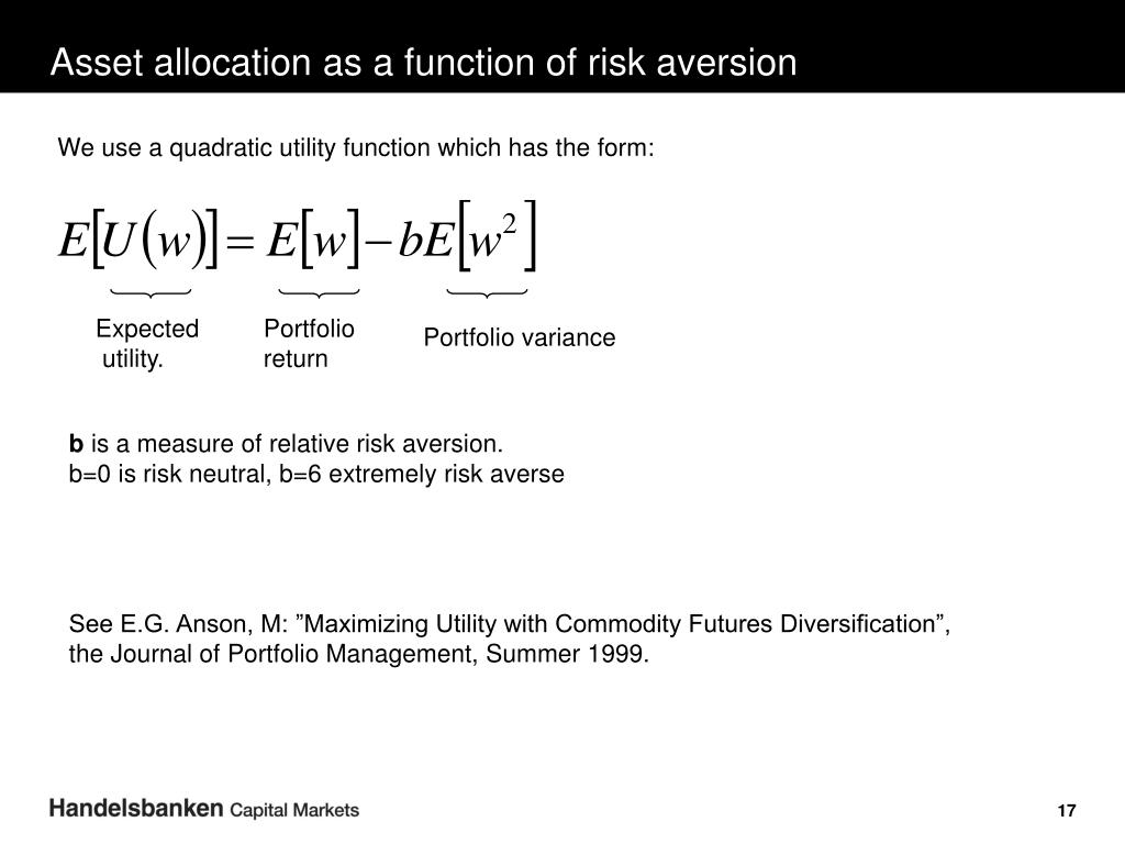 Asset allocation as a function of risk aversion