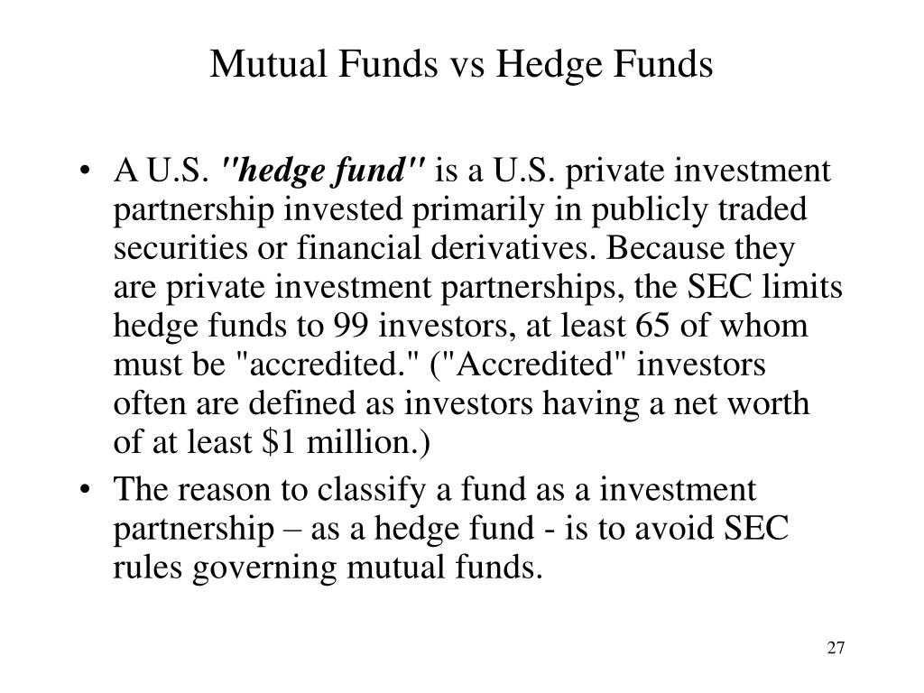 Mutual Funds vs Hedge Funds
