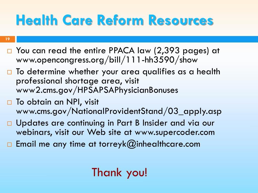 Health Care Reform Resources