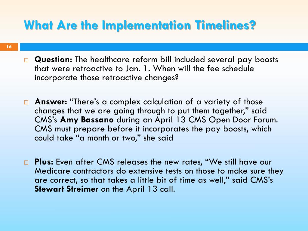 What Are the Implementation Timelines?