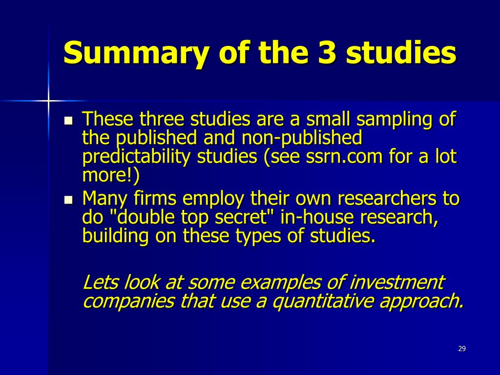 Summary of the 3 studies