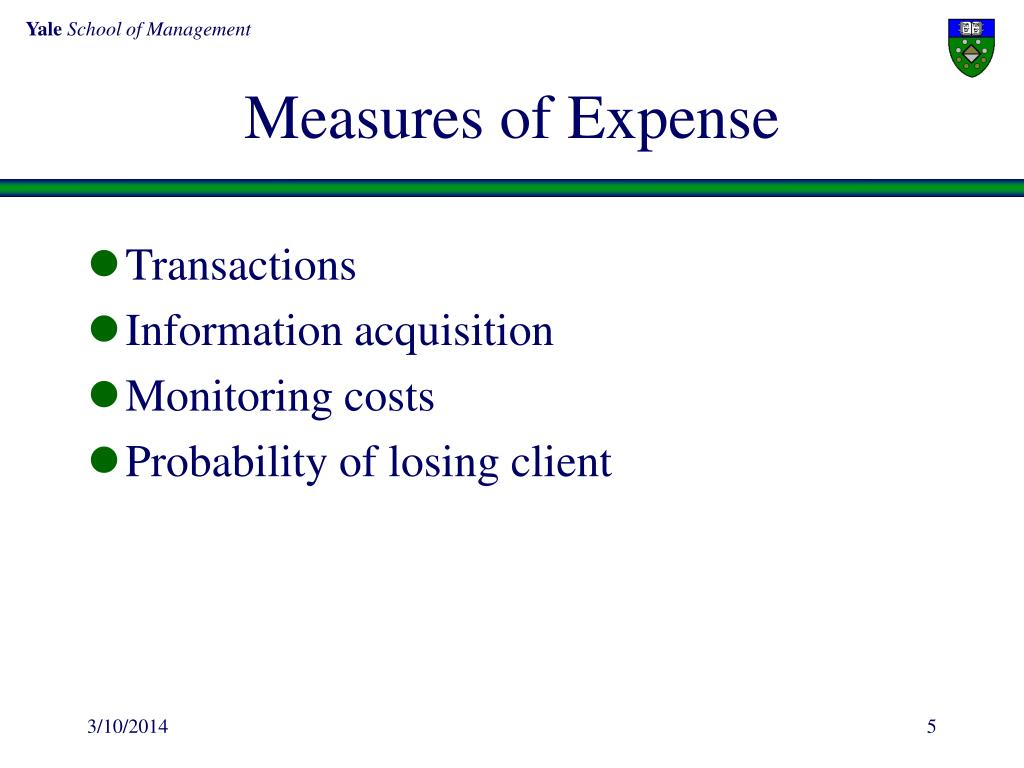 Measures of Expense