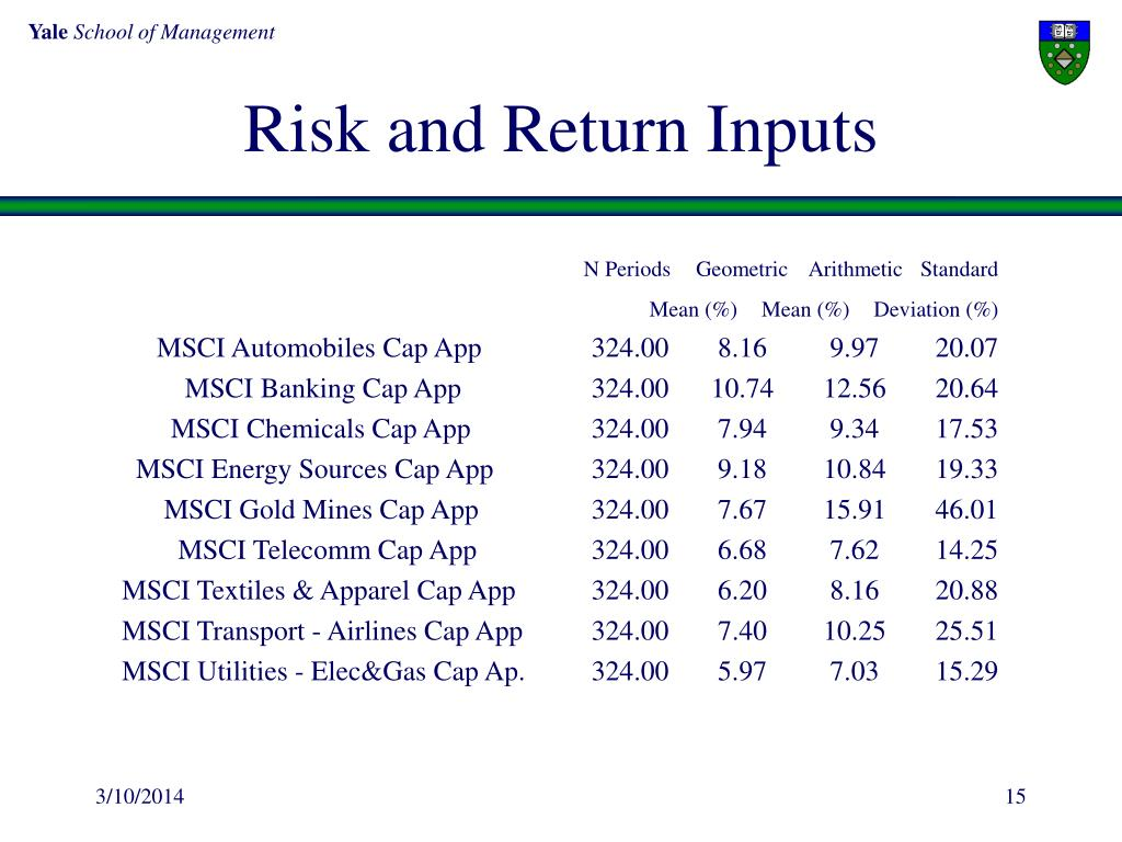 Risk and Return Inputs