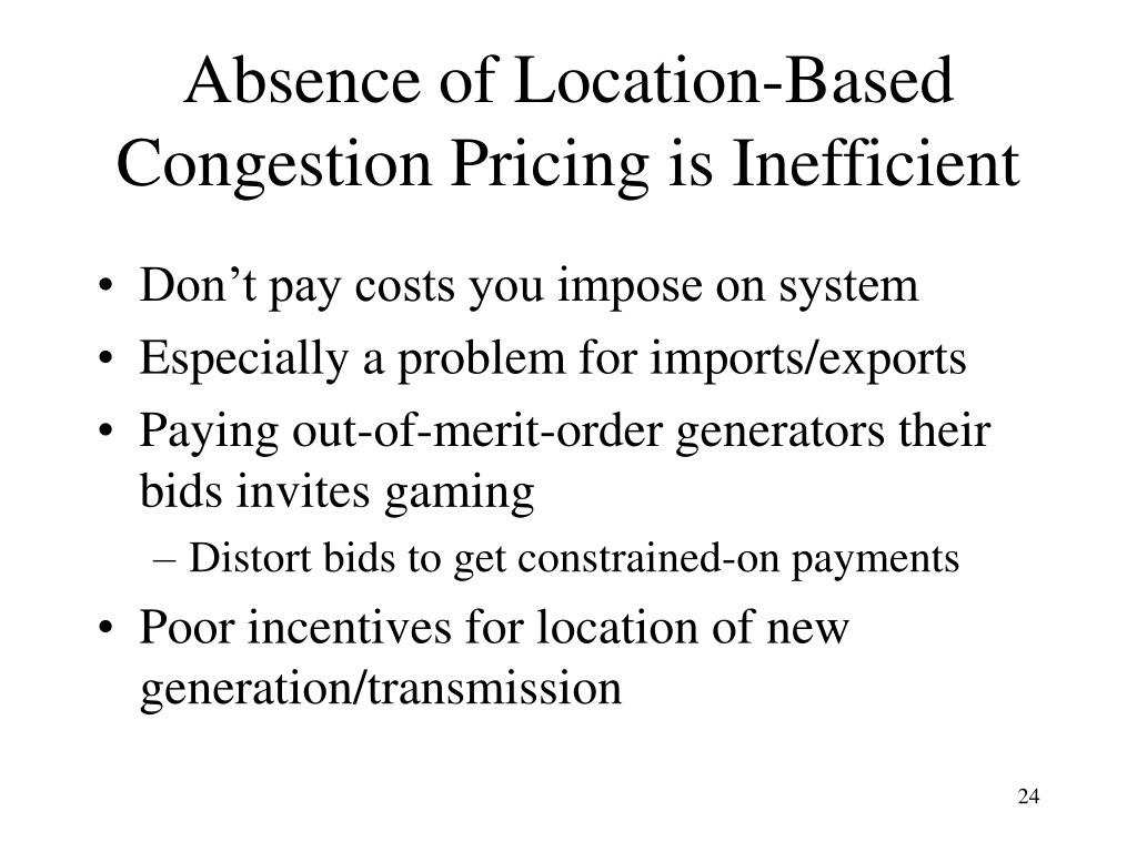 Absence of Location-Based Congestion Pricing is Inefficient