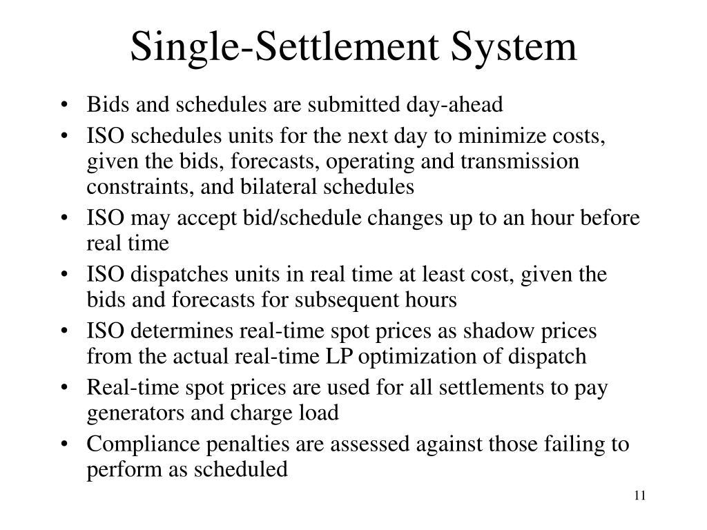Single-Settlement System