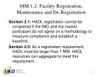 mm 1 2 facility registration maintenance and de registration