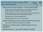 key changes from january 2009 recommendations