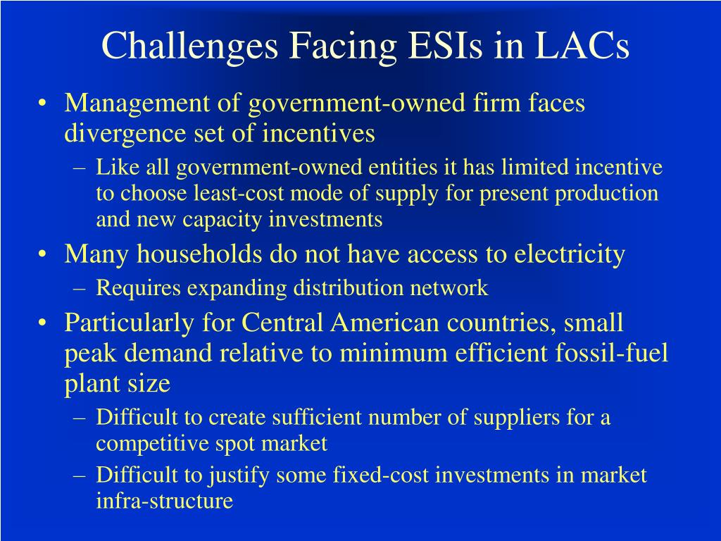 Challenges Facing ESIs in LACs