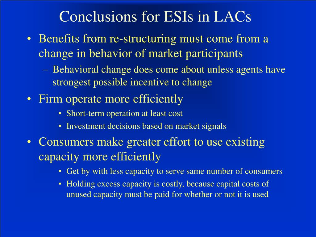 Conclusions for ESIs in LACs