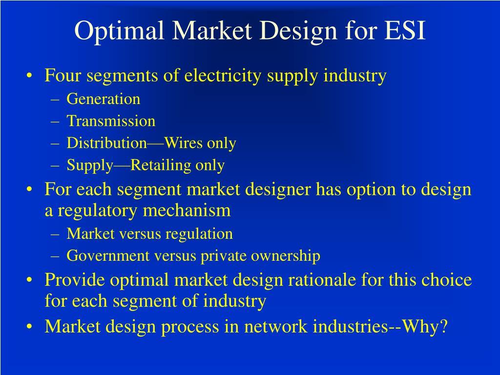 Optimal Market Design for ESI