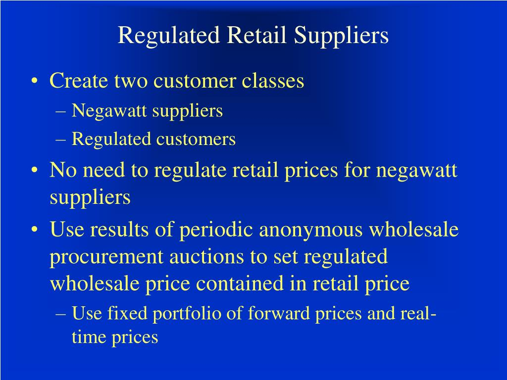 Regulated Retail Suppliers