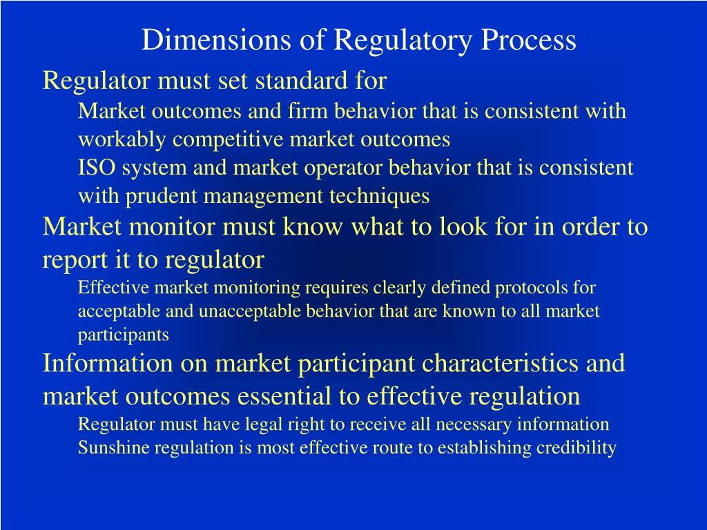 Dimensions of Regulatory Process
