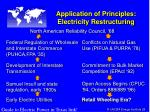 application of principles electricity restructuring