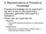 2 representations of procedural knowledge