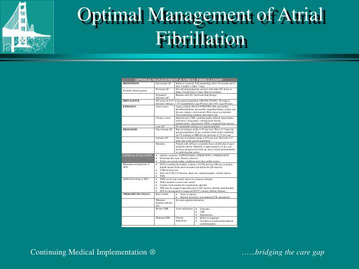 Optimal Management of Atrial Fibrillation